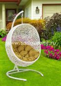Подвесное плетеное кресло кокон Lunar White