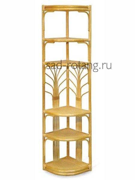 """Этажерка плетеная угловая """"Тulip"""" (Индонезия), размер 40*180, цвет коньяк"""