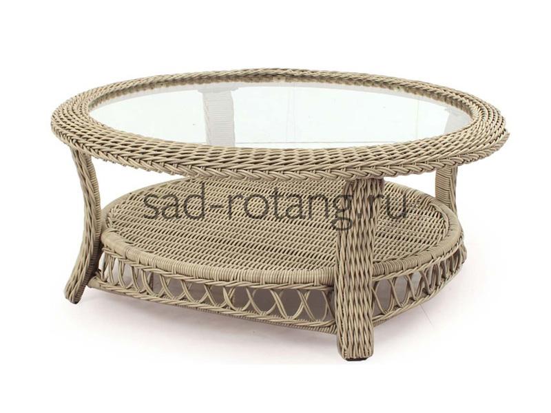 """Плетеный журнальный столик """"Urania"""" (Индонезия), размер 860*500*450, цвет слоновая кость"""