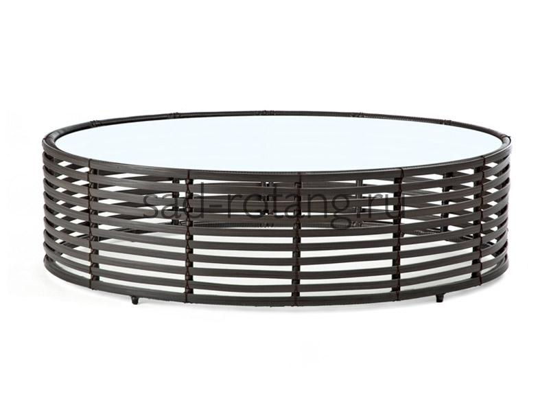 """Кофейный столик """"Tropicana"""" (Индонезия), размер 680*450, цвет чёрный/белый"""