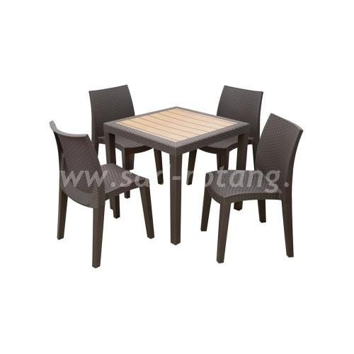 Обеденный комплект из искуственого ротанга (Индонезия), размер Кресло: 54х60, высота - 88 см <br/> Стол: 90х90, высота - 76 см