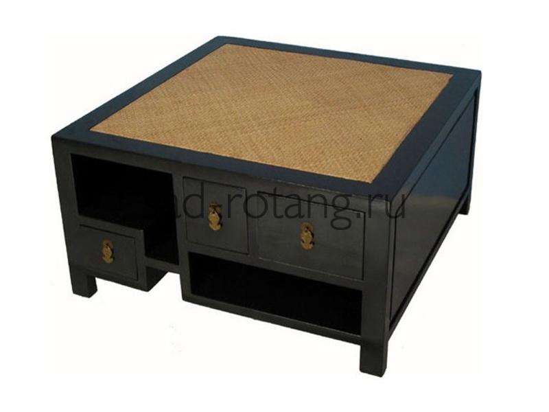 """Столик под телефон """"Gracie"""" (Индонезия), размер 900*900*460, цвет чёрный/светло-коричневый"""