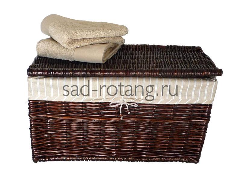 """Сундук для белья """"Cambridge"""" (Индонезия), размер 500*870*510, цвет тёмно-коричневый"""