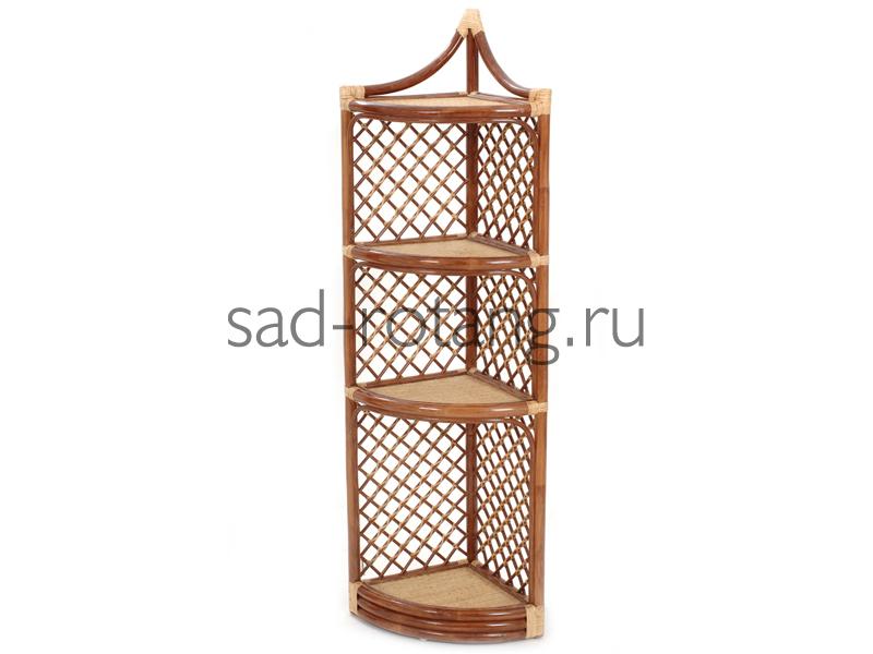 """Угловая этажерка """"Fitzgerald"""" (Индонезия), размер 1500*360*360, цвет темно-коричневый"""