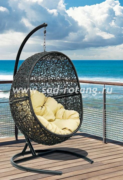Кресло подвесное из искусственного ротанга Lunar Black
