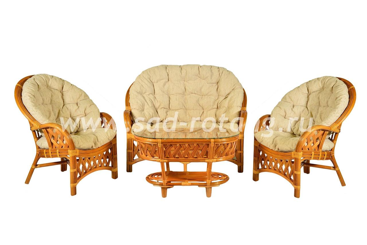 """Плетеный комплект мебели """"Рузвельт"""" (коньяк)"""