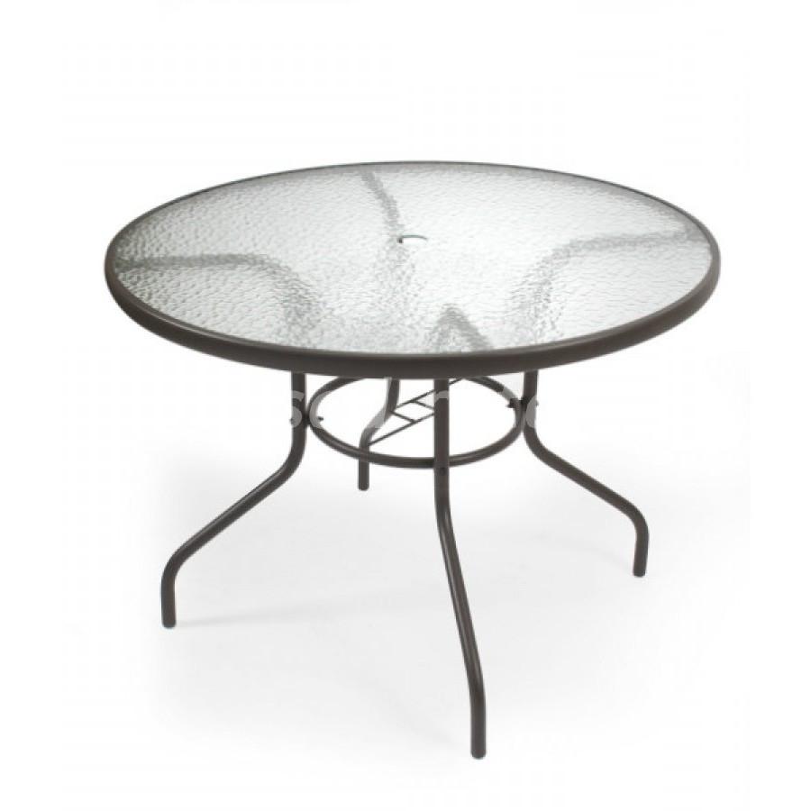 Комплект мебели с зонтом (Индонезия), размер Стул: ширина - 65 см, глубина - 57 см, высота - 70 см <br/> Стол: диаметр - 100 см