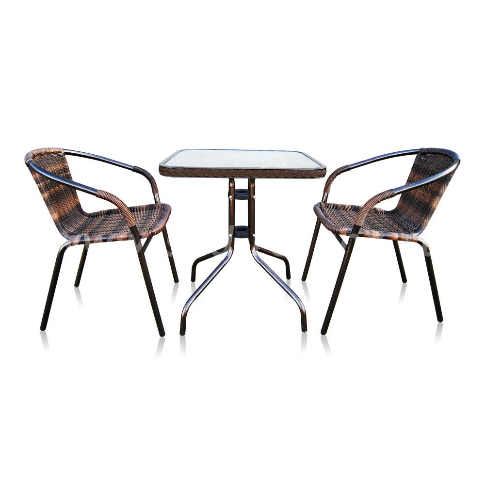 Комплект мебели Asol-2B (орех)размер Стул: длина - 54 см, ширина - 57 см, высота - 74 см <br/> Стол: 60х60х70
