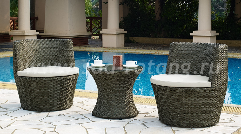 Кофейный комплект 210025 (Индонезия), размер Стол: диаметр - 54 см, высота - 48 см <br/> Кресла: высота - 71 см, ширина - 74 см, глубина - 73 см