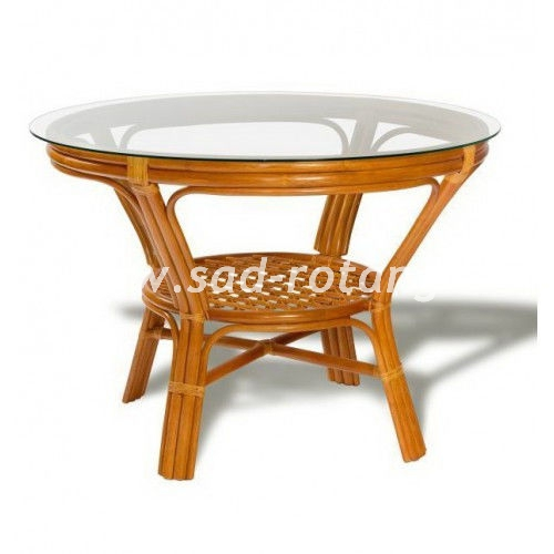 Стол обеденный со стеклом (Коньяк)