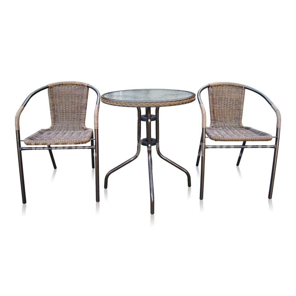Комплект мебели для кафе Asol-1A (капучино)размер Стул: высота - 74 см, ширина - 57 см, длина - 54 см <br/> Стол: диаметр - 60 см, высота - 70 см