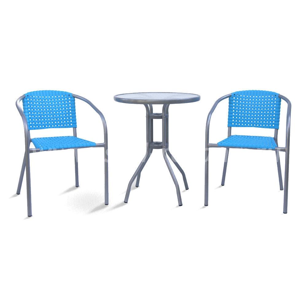 Комплект мебели для каферазмер Стул: высота - 75 см, ширина - 54 см, длина - 58 см <br/> Стол: диаметр - 60 см, высота - 70 см