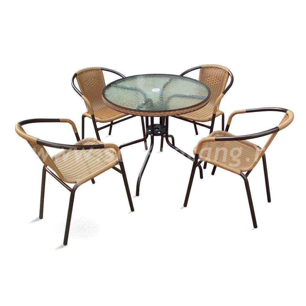 Набор мебели плетеный Nicole -1А (капучино)размер Стул: высота - 74 см, ширина - 57 см, длина - 54 см <br/> Стол: 80х70