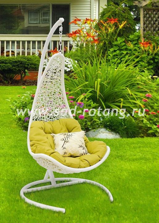Плетеное подвесное кресло Wind White