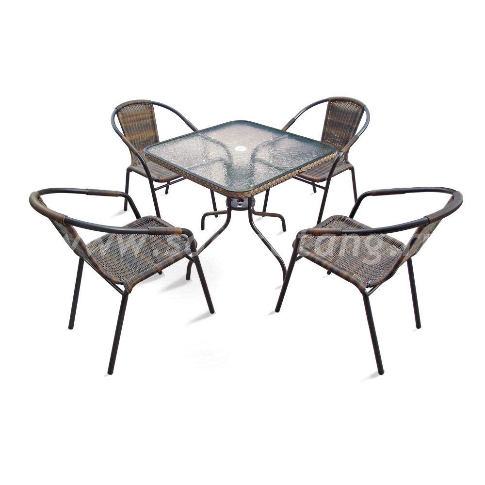 Набор мебели Nicole-2В размер Стул: высота - 74 см, ширина - 57 см, длина - 54 см <br> Стол: длина - 80 см, ширина - 80 см, высота - 70 см