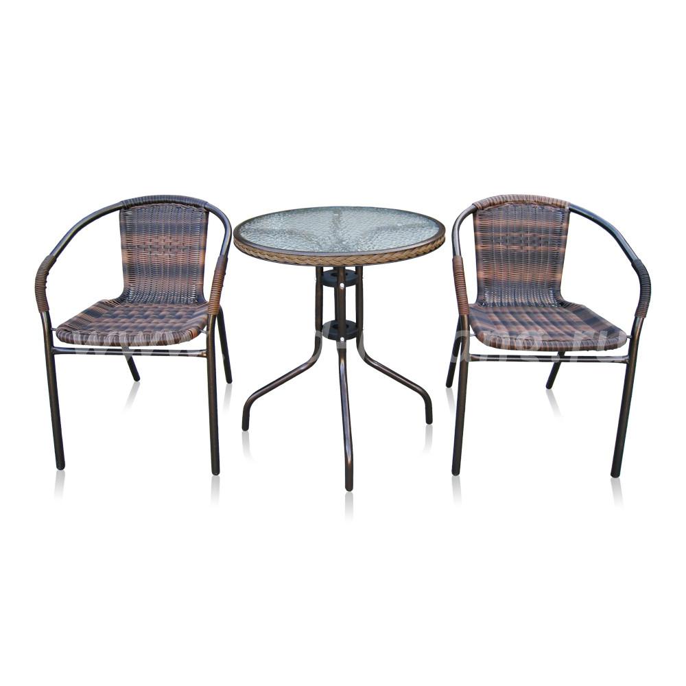 Комплект мебели для кафе Asol-1B (орех)размер Стул: высота - 74 см, ширина - 57 см, длина - 54 см <br/> Стол: 60х70 см