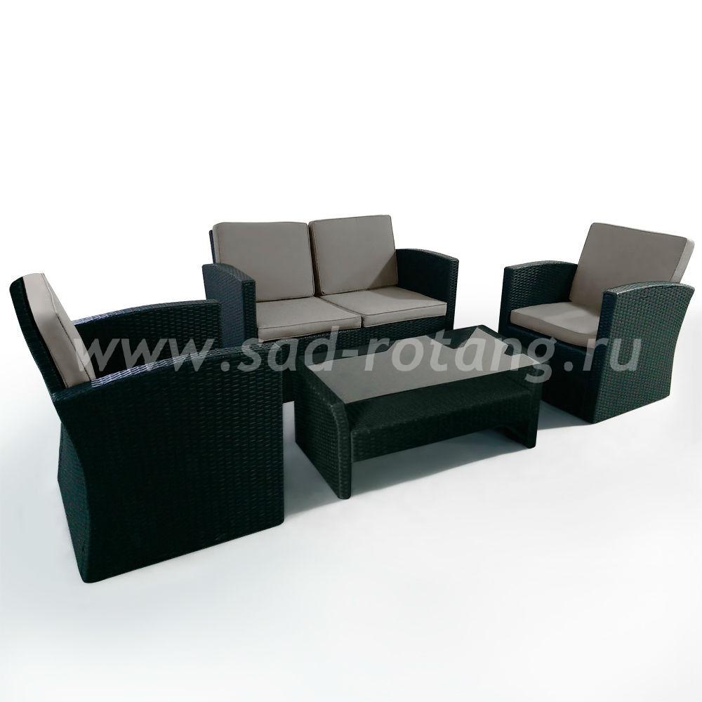 Комплект плетеной мебели (Индонезия), размер Стол: длина - 100 см, ширина - 50 см, высота - 39 см <br/> Кресло: ширина - 75 см, глубина - 75 см, высота - 82 см <br/> Диван: ширина - 134 см, глубина - 75 см, высота - 82 см