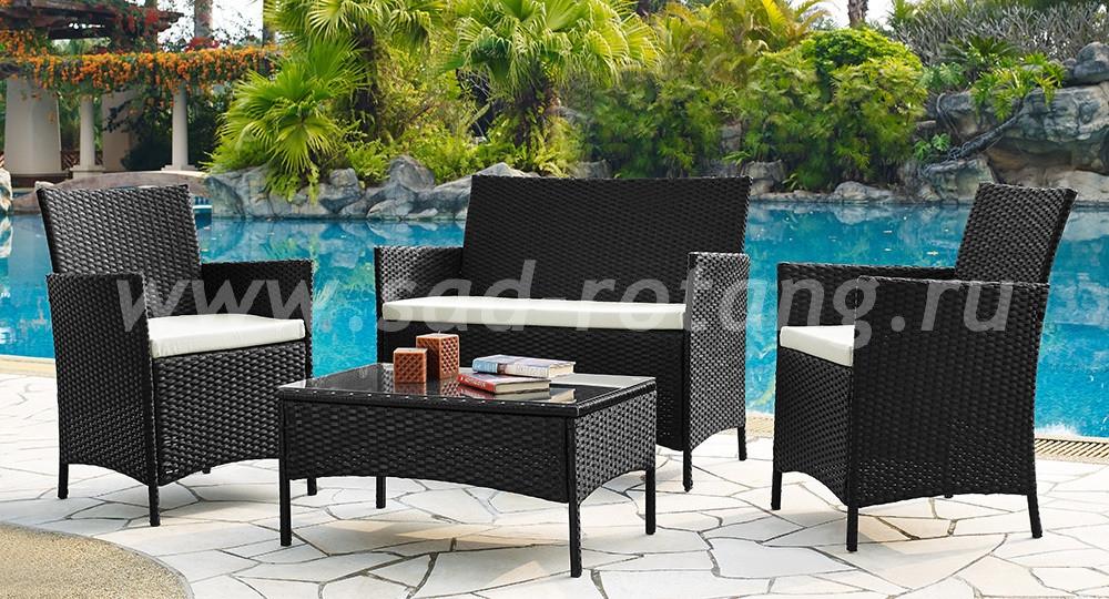 Кофейный комплект 210013 (черный) (Индонезия), размер Стол: ширина - 80 см, глубина - 48 см, высота - 39 см <br/> Кресла: ширина - 60 см, глубина - 61 см, высота - 88 см <br/> Диван: ширина - 108 см, глубина - 61 см, высота - 88 см