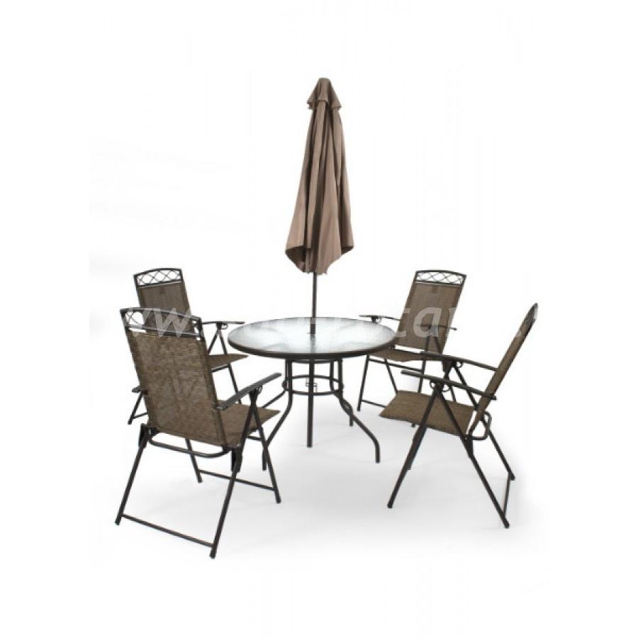 Комплект мебели со складным зонтом (Индонезия), размер Стул: ширина - 65 см, глубина - 57 см, высота - 70 см <br/> Стол: диаметр - 100 см